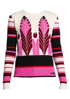 Valentino Feather Intarsia Virgin Wool & Cashmere Sweater