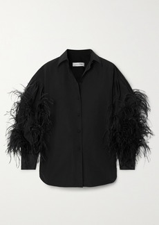 Valentino Feather-trimmed Cotton-blend Poplin Blouse