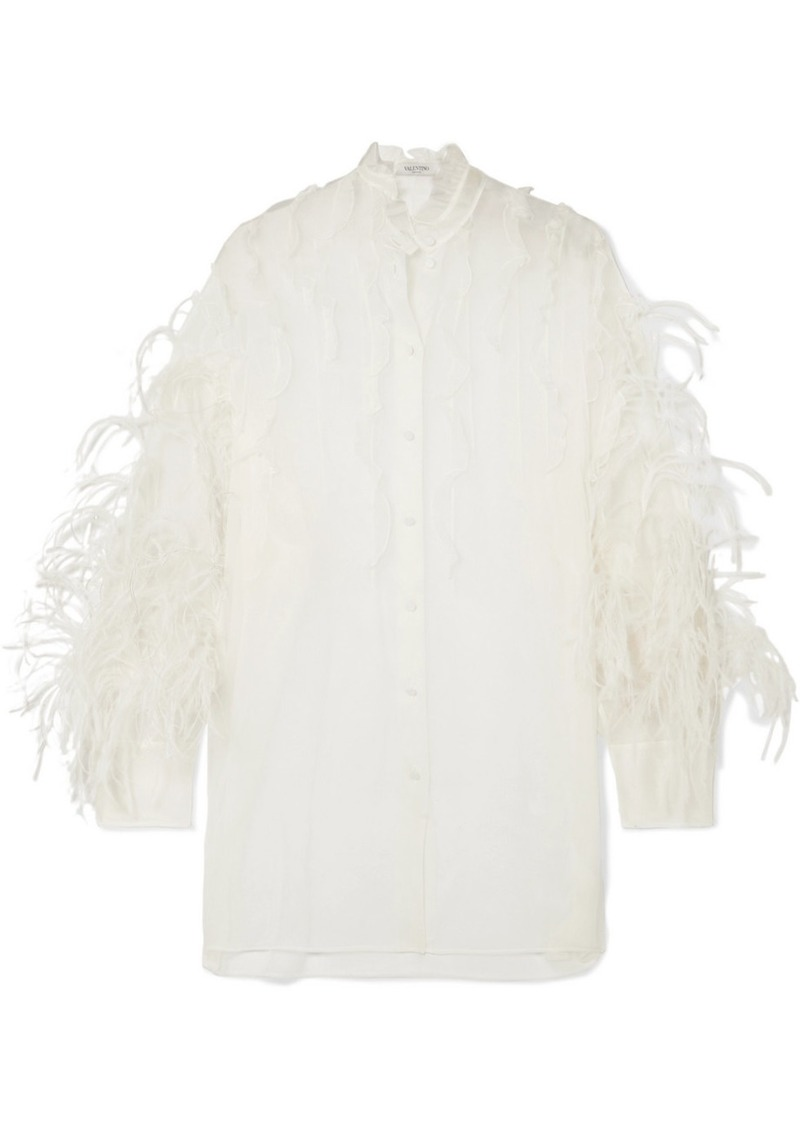 Valentino Feather-trimmed Ruffled Silk-organza Blouse