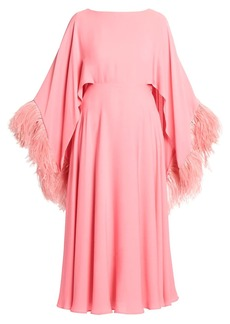 Valentino Feather-Trimmed Silk Cocktail Dress