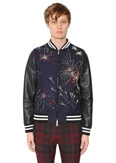 Valentino Fireworks Wool & Leather Jacket