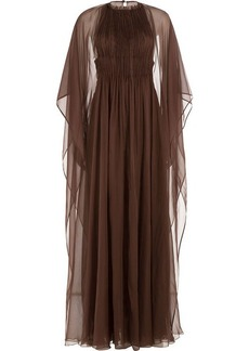 Valentino Floor Length Silk Gown with Chiffon Cape