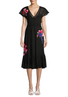 Valentino Floral Appliqué Pointelle Knit Dress