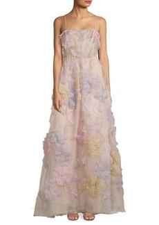 Valentino Floral Appliqué Silk Gown
