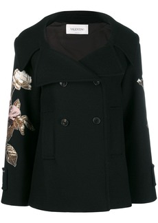 Valentino floral embroidered patch sleeve coat