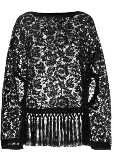 Valentino floral lace fringed cape top