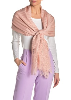 Valentino Floral Lace Wool Blend Plisse Shawl