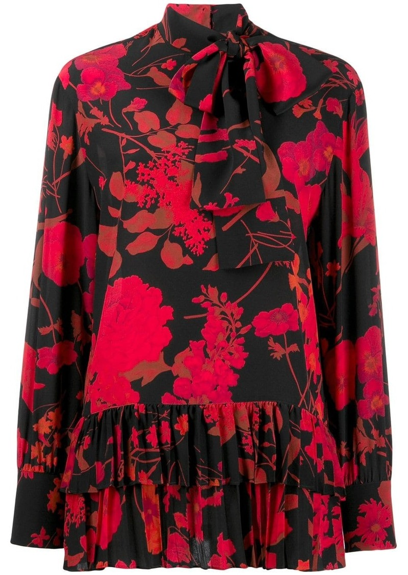 Valentino floral print pleated blouse