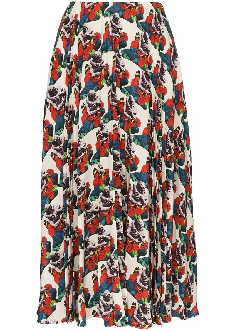 Valentino floral-print pleated silk skirt