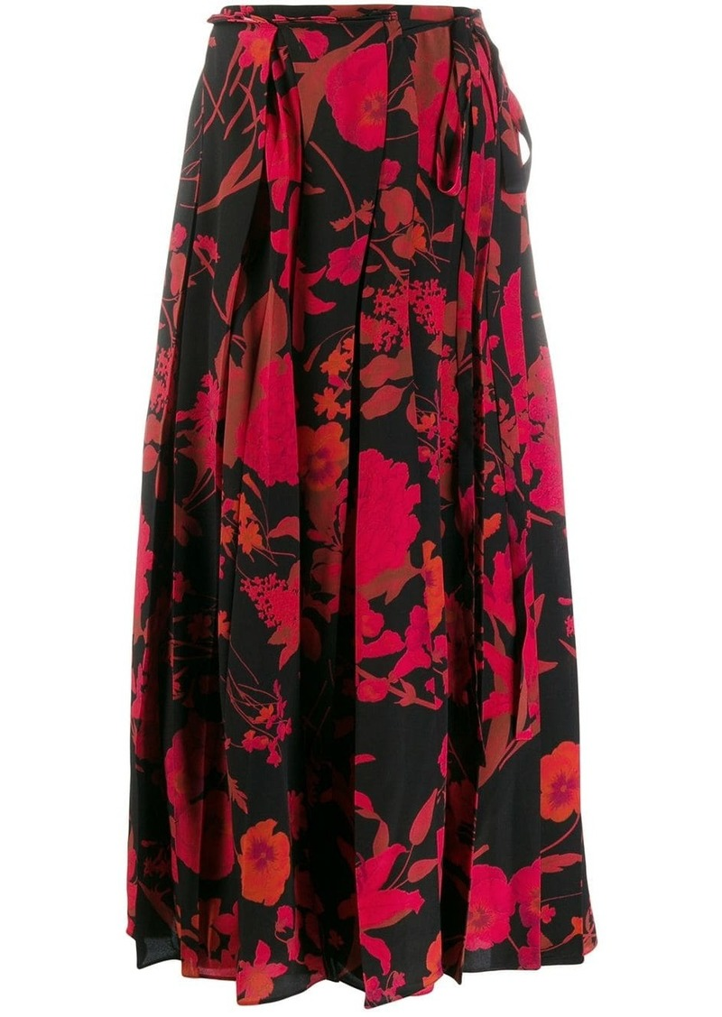 Valentino floral print pleated skirt