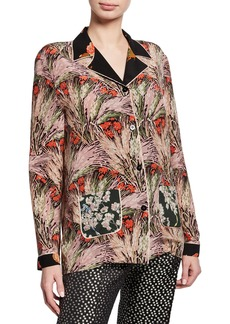 Valentino Floral Silk Button-Down Blouse