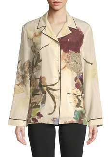 Valentino Floral Silk Button-Down Shirt