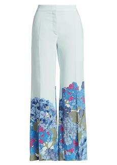 Valentino Floral Silk Wide-Leg Pants