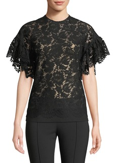 Valentino Flutter-Sleeve Lace Blouse
