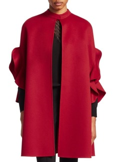 Valentino Flutter Trim Wool & Cashmere Cape