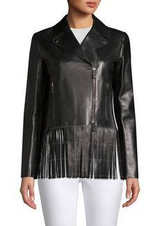 Valentino Fringe Leather Biker Jacket