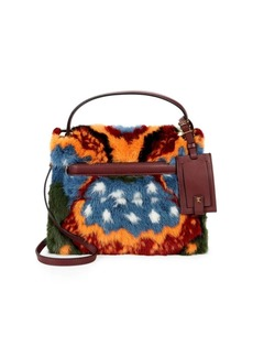 Valentino Fur-Trimmed Top Handle Bag