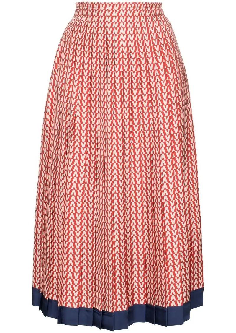 Valentino Garavani V print pleated silk midi skirt