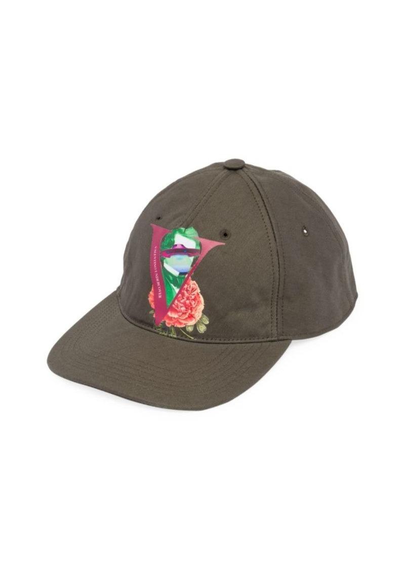 Valentino Garavani Graphic Logo & Flower Baseball Cap