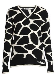 Valentino Giraffe Intarsia Wool Knit Sweater
