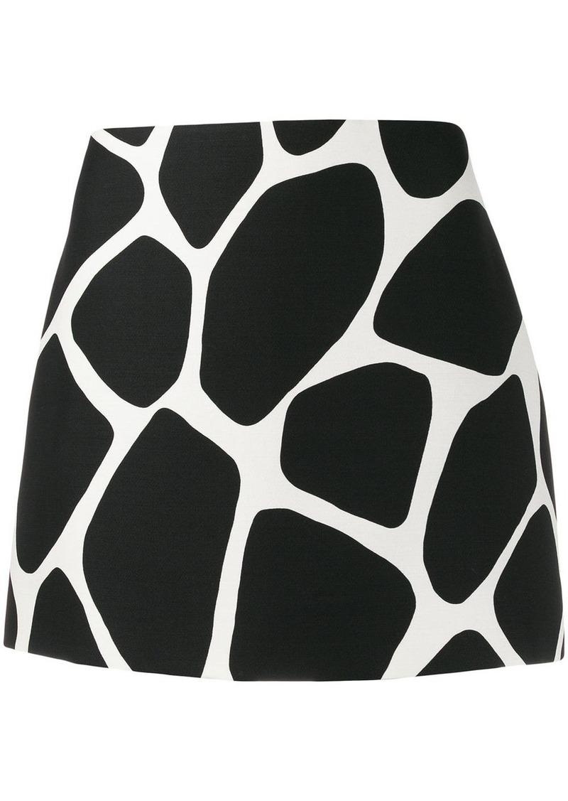 Valentino giraffe print fitted mini skirt