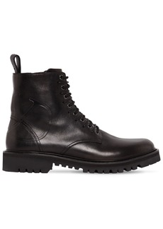 Valentino Go Logo Embossed Leather Combat Boots