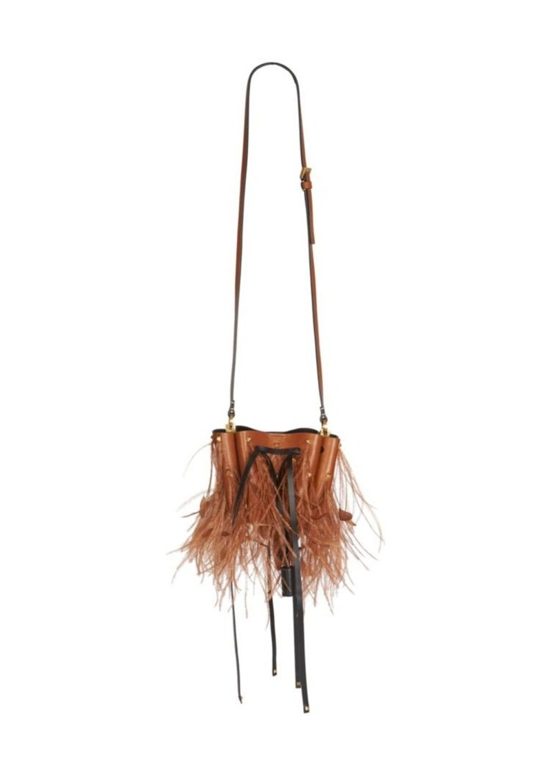 Valentino Garavani Small VLogo Feather-Trim Leather Bucket Bag