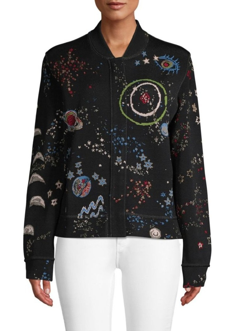Valentino Graphic Baseball-Collar Jacket