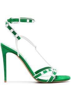 Valentino Green Free Rockstud 105 Suede Sandals