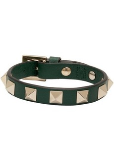 Green Valentino Garavani Leather Rockstud Bracelet