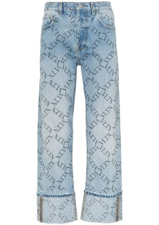 Valentino grid logo turned up jeans