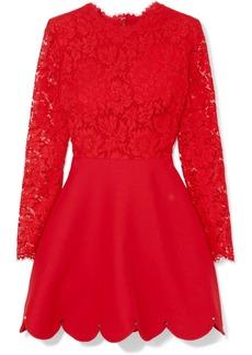Valentino Guipure Lace And Crepe Mini Dress