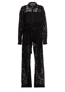 Valentino Heavy Lace Belted Jumpsuit