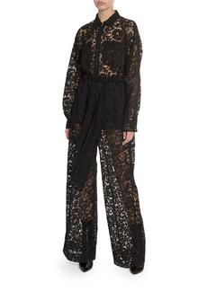 Valentino Heavy Lace Long-Sleeve Lace Utility Jumpsuit