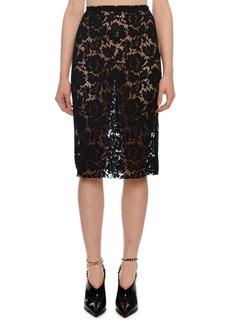 Valentino Heavy Lace Pencil Skirt