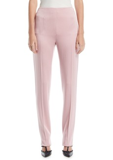 Valentino High-Waist Side-Zip Slim Straight-Leg Cady Pants