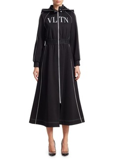 Valentino Hooded A-Line Jersey Dress