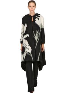 Valentino Hooded Intarsia Mohair Knit Long Coat