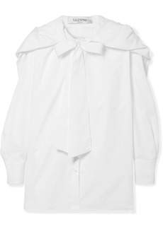 Valentino Hooded Pussy-bow Silk-trimmed Cotton-poplin Shirt