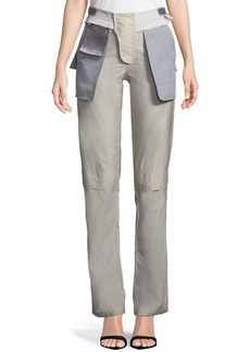 Valentino Inside-Out Pocket Techno Poplin Straight-Leg Pants