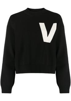 Valentino intarsia-knit V jumper