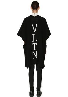Valentino Intarsia Logo Wool Knit Maxi Cardigan