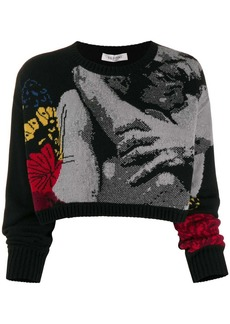 Valentino jacquard knitted cropped sweater