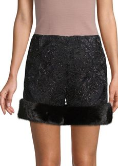 Valentino Lace Dyed Mink Fur-Trimmed Shorts