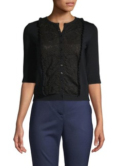 Valentino Lace-Front Cardigan