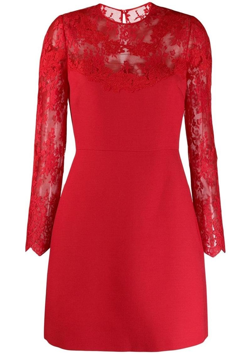 Valentino lace illusion-neck dress