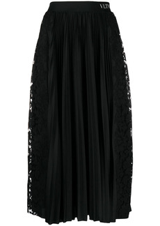 Valentino lace-panel pleated midi-skirt