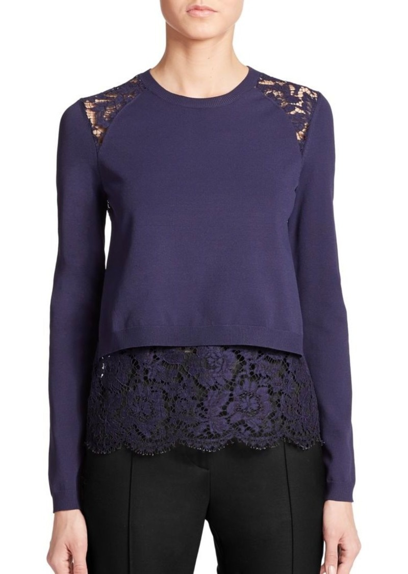 Valentino Lace-Panel Sweater