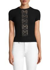 Valentino Lace Short-Sleeve Sweater