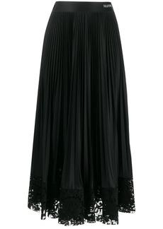 Valentino lace trim pleated skirt